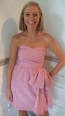 Judith March Seersucker Bow Dress Red