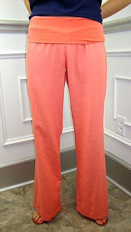 Roll Over Linen Pant, Coral
