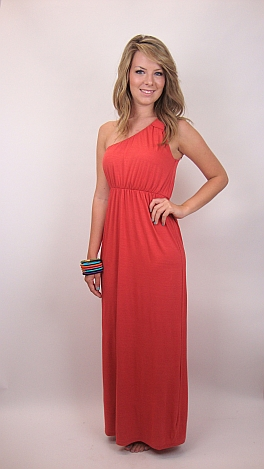 Knot Shoulder Maxi, Orange