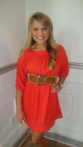 Talk of the Tailgate Dress Orange