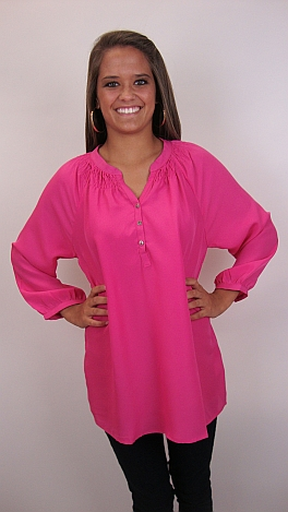 Here To Stay-ple Blouse, Pink