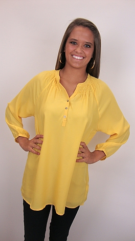Here To Stay-ple Blouse, Yellow