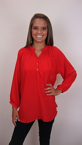 Here To Stay-ple Blouse, Red