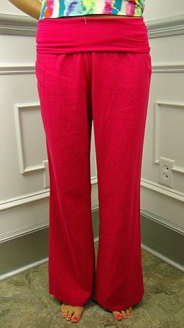 Roll Over Linen Pant, Pink