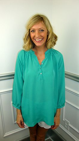 Here To Stay-ple Blouse, Turquoise