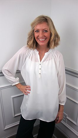 Here To Stay-ple Blouse, White