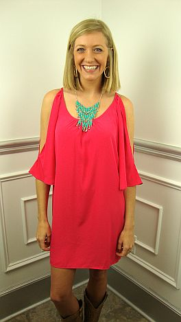 Essential Slit Sleeve Dress, Pink