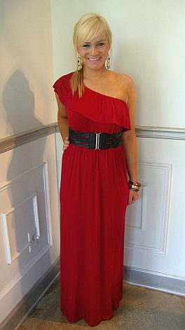 Ruffle 1 Shoulder Maxi Crimson