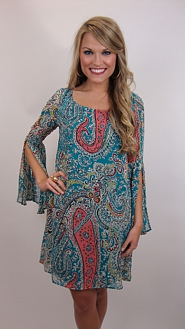 Pay Me In Paisleys Dress, Blue