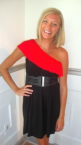 The Contrast Ruffle 1 Shoulder Dress
