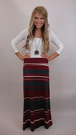 Bama Stripes Maxi Skirt