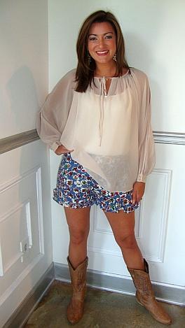 Karlie Slit Sleeve Top Cream