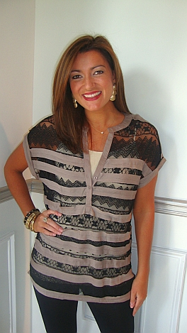 Karlie Lace Stripes Tunic