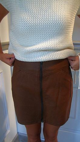 Caramel Zip Front Skirt