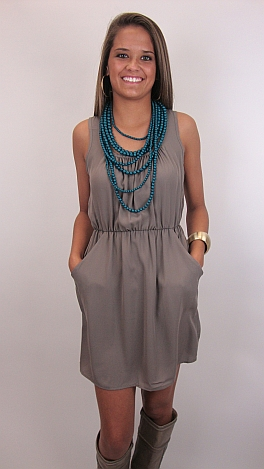 Single Scoop Dress, Taupe
