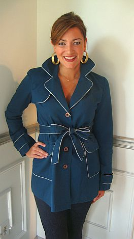 Blue Trench w/Contrast Piping