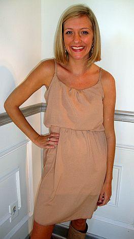 Basic Blouson Dress Tan