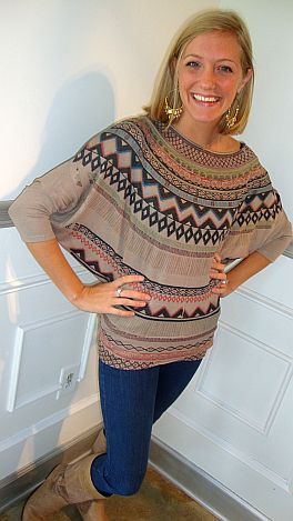 Taupe Tribal Top