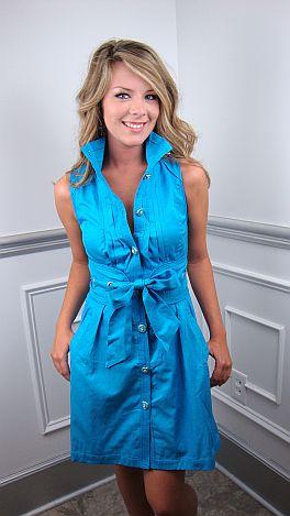 Kate Corset Back Drs, Bright Blue