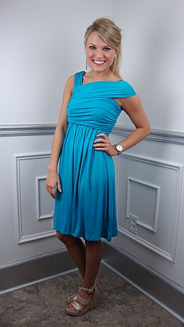 Slanted Straps Knit Dress, Turquoise