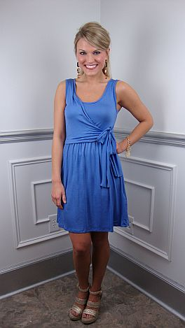 Wrap Front Dress, Periwinkle