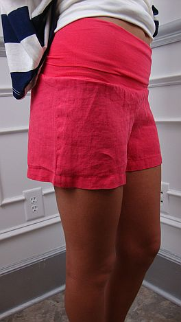 Roll Over Linen Shorts, Pink