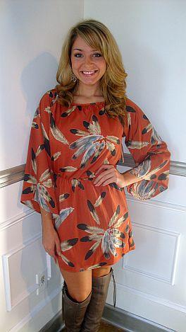 Precious Pochahontas Dress Rust