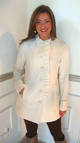 Ivory Ruffle Front Coat