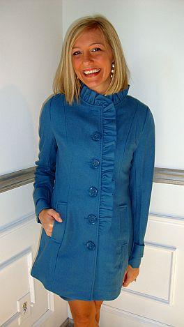 Blue Ruffle Front Coat
