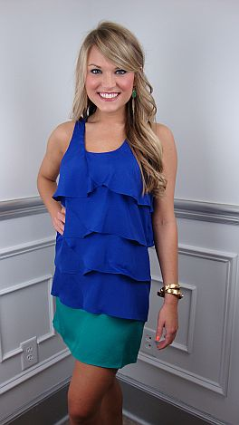 Tier To My Heart Dress, Blue