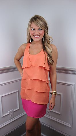 Tier To My Heart Dress, Pink