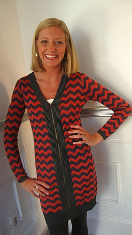 Zig Zag Zip Up, Red