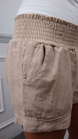 Smocked Linen Shorts, Tan