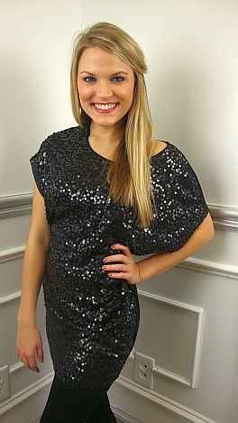 Sequin Front Top, Black