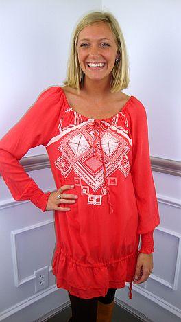 Eva Embroidery Tunic, Coral