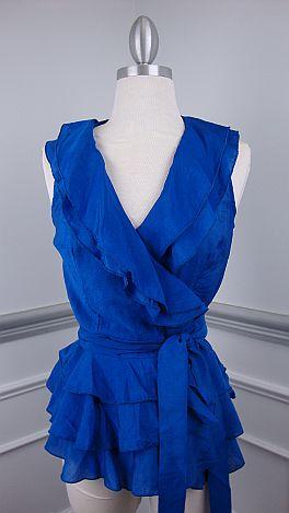 Classic Wrap Top, Blue