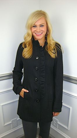 Black Ruffle Front Coat