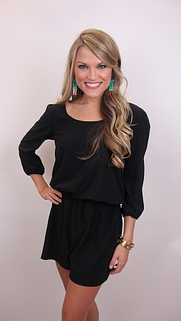 Cut To The Chase Romper, Black