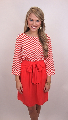 Pretty Please Skirt, Coral Red