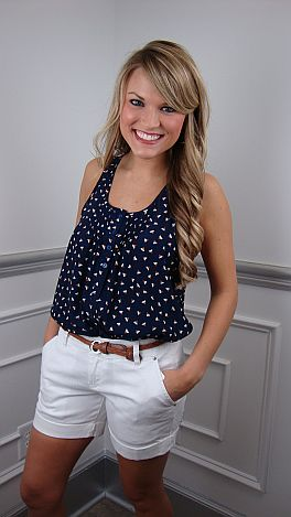Love Triangle Top, Navy