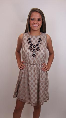 Lots of Dots Dress, Mocha