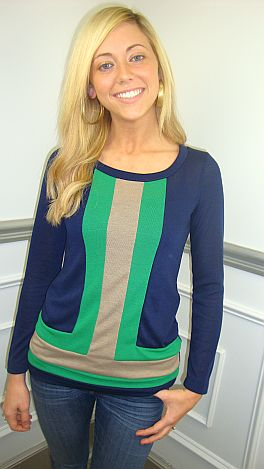 Tory Knit Colorblock Top