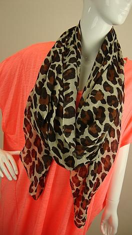 Leopard Scarf, Brown