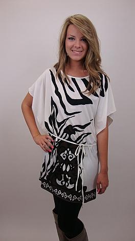 Zebra Tie Waist Tunic