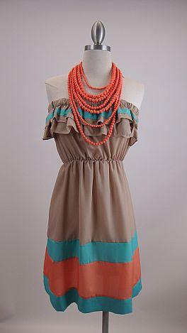 Ruthie Ruffle Dress, Beige