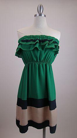Ruthie Ruffle Dress, Green