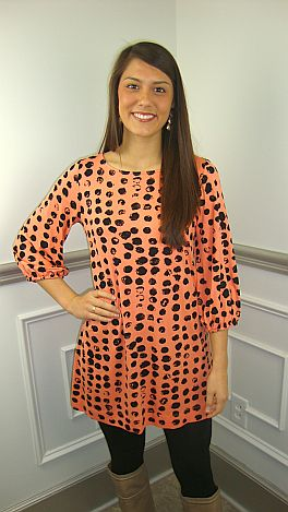 Ink Blot Tunic, Coral