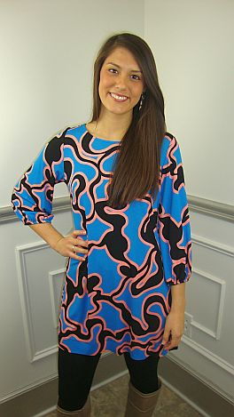Squiggle Print Tunic, Blue