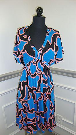 Squiggle Print V-Neck Dress, Blue