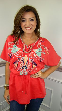 Emily Embroidery Top, Watermelon